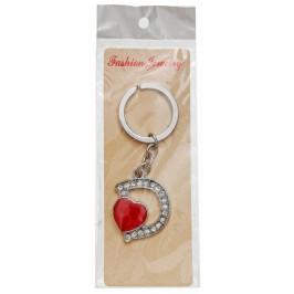 Сувенирен метален ключодържател - буква D с декоративни камъчета и червено сърце