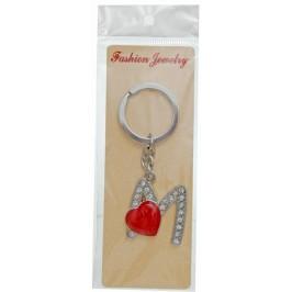 Сувенирен метален ключодържател - буква М с декоративни камъчета и червено сърце