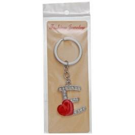 Сувенирен метален ключодържател - буква Е с декоративни камъчета и червено сърце