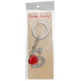 Сувенирен метален ключодържател - буква S с декоративни камъчета и червено сърце
