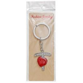 Сувенирен метален ключодържател - буква Т с декоративни камъчета и червено сърце