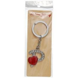 Сувенирен метален ключодържател - буква Р с декоративни камъчета и червено сърце