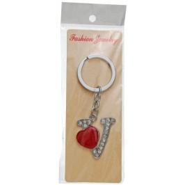 Сувенирен метален ключодържател - буква V с декоративни камъчета и червено сърце