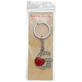 Сувенирен метален ключодържател - буква G с декоративни камъчета и червено сърце