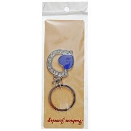 Сувенирен метален ключодържател - буква D с декоративни камъчета и лилаво сърце