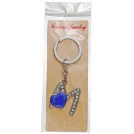 Сувенирен метален ключодържател - буква М с декоративни камъчета и лилаво сърце