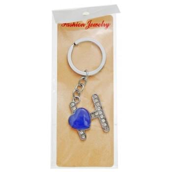 Сувенирен метален ключодържател - буква Н с декоративни камъчета и лилаво сърце