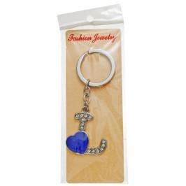 Сувенирен метален ключодържател - буква L с декоративни камъчета и лилаво сърце