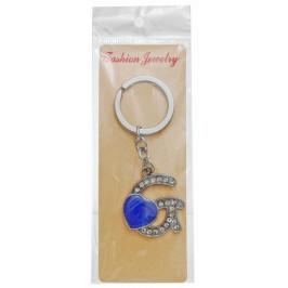 Сувенирен метален ключодържател - буква G с декоративни камъчета и лилаво сърце