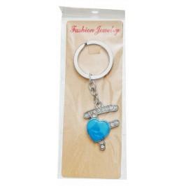 Сувенирен метален ключодържател - буква F с декоративни камъчета и синьо сърце