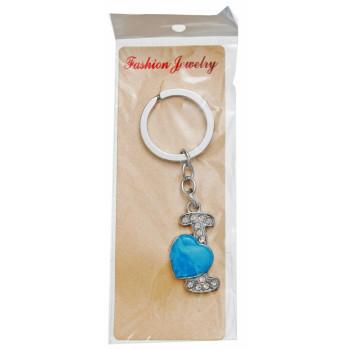 Сувенирен метален ключодържател - буква I с декоративни камъчета и синьо сърце