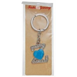 Сувенирен метален ключодържател - буква Z с декоративни камъчета и синьо сърце