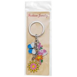 Сувенирен метален ключодържател - четири фигурки - къщичка, пеперуда, цвете и слънце