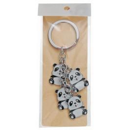 Сувенирен метален ключодържател - четири панди