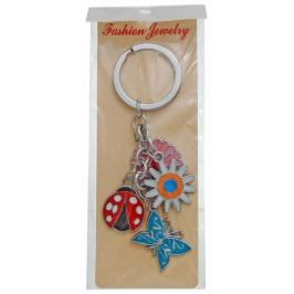 Сувенирен метален ключодържател - четири фигурки - две цветчета, паперуда и калинка