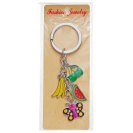 Сувенирен метален ключодържател - четири фигурки - банан, диня, черешки и пеперуда
