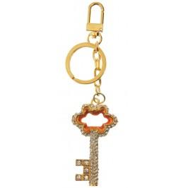 Сувенирен метален ключодържател - ключ, инкрустиран с бели камъни