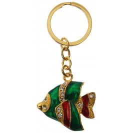 Сувенирен метален ключодържател - риба, инкрустирана с бели камъни