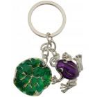 Сувенирен метален ключодържател - жабка с лилиево листо