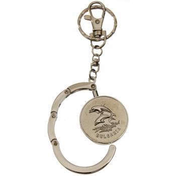 Сувенирен метален ключодържател с релеф - два делфина и надпис България