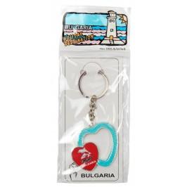 Сувенирен метален ключодържател - две сърца