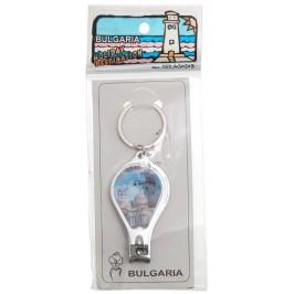 Сувенирен ключодържател нокторезачка с отварачка, декориран с холограма на забележителности на Варна и Несебър