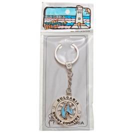 Сувенирен метален ключодържател с релеф - два делфина