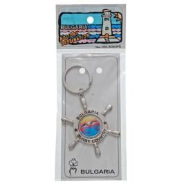Сувенирен метален ключодържател - рул с въртяща се плочка, декорирана с морски мотиви