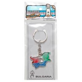 Сувенирен метален ключодържател - контури на България
