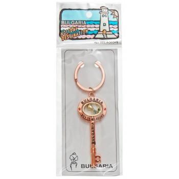 Сувенирен метален ключодържтел ключ с въртяща се роза и гравирани надписи - 6