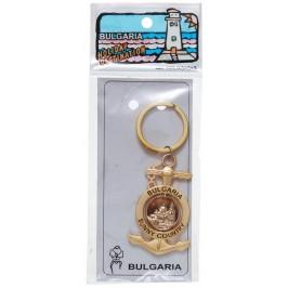 Сувенирен метален ключодържател - котва с въртяща се плочка, декорирана с Варненската катедрала и двореца в Балчик