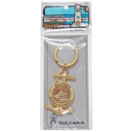 Сувенирен метален ключодържател - котва с въртяща се плочка, декорирана с Варненската катедрала и вятърната мелница в Несебър