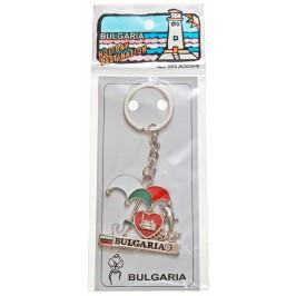 Сувенирен метален ключодържател - чадър с делфин, сърце и надпис България