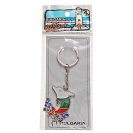 Сувенирен метален ключодържател -делфин и надпис България