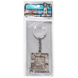 Сувенирен метален ключодържател с надпис България, декоративни елементи и въртяща се плочка - Варненската катедрала