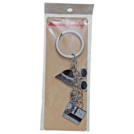 Сувенирен метален ключодържател - четири фигурки - чанта, очила, обувка и шапка