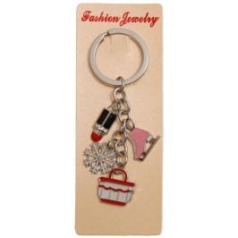 Сувенирен метален ключодържател - четири фигурки - чанта, кънка, червило и снежинка