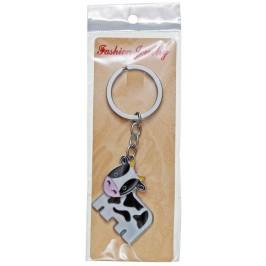 Сувенирен метален ключодържател - крава с подвижна глава