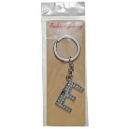 Сувенирен метален ключодържател - буква Е с декоративни камъчета