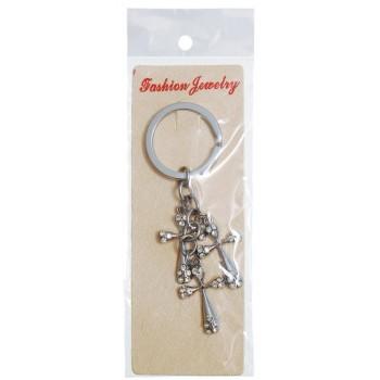 Сувенирен метален ключодържател - три кръста, декорирани с бели камъни