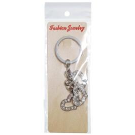 Сувенирен метален ключодържател - три сърца, декорирани с бели камъни