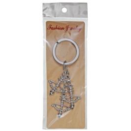 Сувенирен метален ключодържател - три лъка, декорирани с бели камъчета