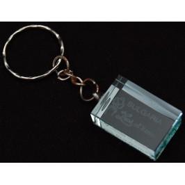 Ключодържател стъклена плочка с гравиран надпис - Земя на рози