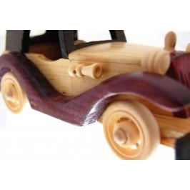 Сувенирен, дървен ретро автомобил с въртящи се гуми