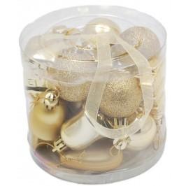 Коледен комплект от 20 броя златисти фигурки за окачване на елха
