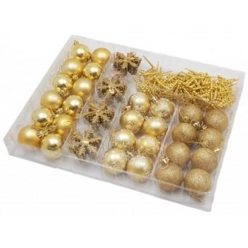 Коледен комплект от 53 броя златисти фигурки за окачване на елха