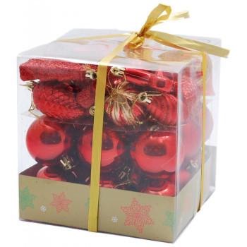 Коледен комплект от 44 броя червени фигурки за окачване на елха