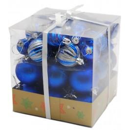 Коледен комплект от 44 броя сини фигурки за окачване на елха
