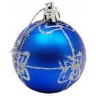 Комплект цветни коледни топки за окачване на елха, декорирани с брокат