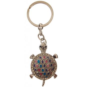 Сувенирен метален ключодържател - костенурка, инкрустирана с бели камъни